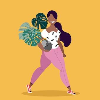 観葉植物を保持している女の子。鍋に花を持つ孤立した女性キャラクター。幸せな長い髪の女の子のイラスト。ピンクのジーンズと白いtシャツの女の子。トレンディでスタイリッシュな女の子と花。花屋、庭師。