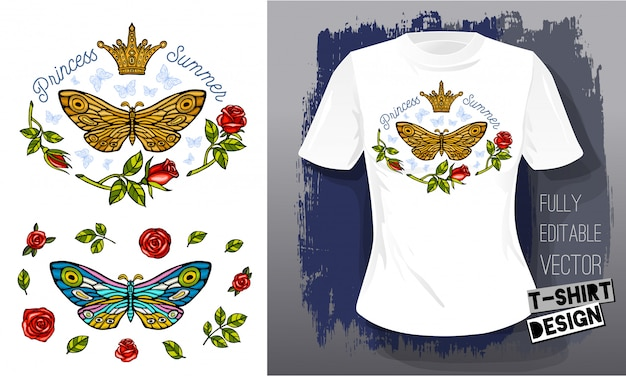 蝶蛾黄金刺繍クイーンクラウンテキスタイルファブリックtシャツデザイン。手描きイラスト