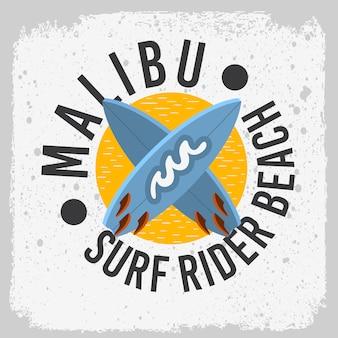 マリブサーフライダービーチカリフォルニアサーフィンサーフボードのロゴラベル付きプロモーションデザインtシャツまたはステッカーポスター画像。