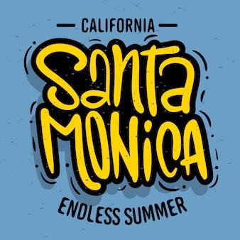 サンタモニカカリフォルニアデザインプロモーション広告のtシャツやステッカーのロゴサインラベルポスターチラシ画像。