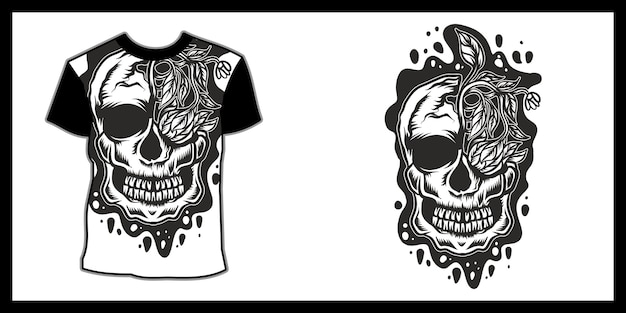 Tシャツデザインのスカルイラスト