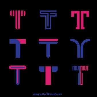 Розовая эмблема букв t коллекция шаблонов