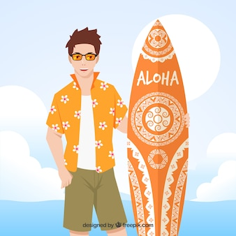 ハワイのtシャツとサーフボードのボーイの背景