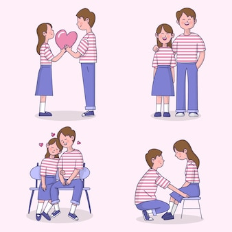 ストライプのtシャツコレクションとバレンタインのカップル