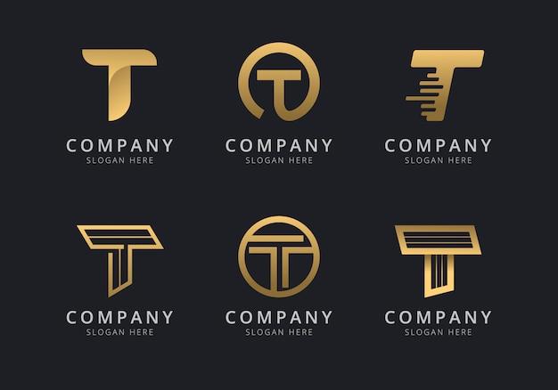 会社のゴールデンスタイルの色のイニシャルtロゴテンプレート