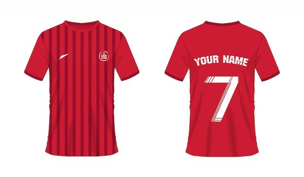 チームクラブのtシャツの赤いサッカーまたはフットボールのテンプレート。ジャージースポーツ