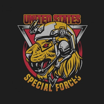 Tシャツデザイン米国特殊部隊タイガーヘッドと軍ヘルメットヴィンテージイラスト