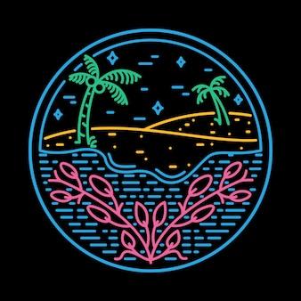 ビーチ海自然野生バッジイラストtシャツ
