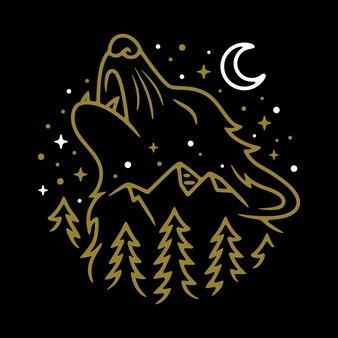 動物オオカミの夜の線のグラフィックイラストベクトルアートtシャツデザイン