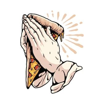 祈るピザフードイラストtシャツ