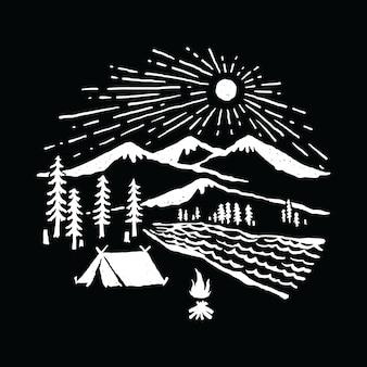 キャンプハイキングアドベンチャー自然グラフィックイラストベクトルアートtシャツデザイン