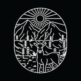 動物の鹿の荒野のグラフィックイラストアートtシャツ