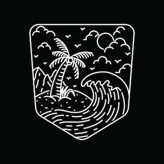 夏の自然ビーチライングラフィックイラストアートtシャツ