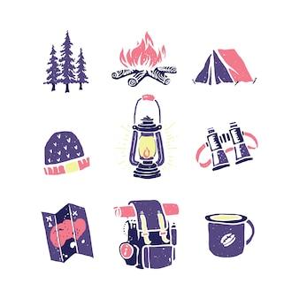 キャンプハイキング登山自然グラフィックイラストアートtシャツデザイン
