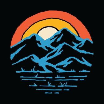 マウンテンサンセットネイチャーアドベンチャーワイルドイラストレーションアートtシャツ