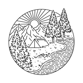 レイクキャンプハイキング自然ワイルドライングラフィックイラストアートtシャツデザイン
