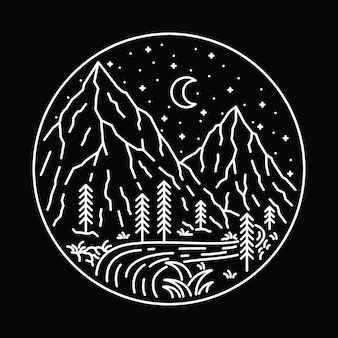 キャンプハイキングネイチャーワイルドライングラフィックイラストアートtシャツデザイン