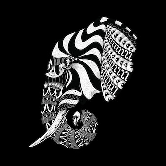 動物の象華やかな飾り装飾的な野生線グラフィックイラストアートtシャツデザイン
