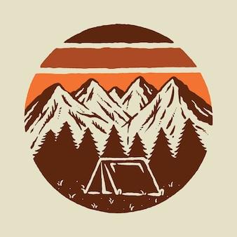キャンプハイキング登山山自然野生グラフィックイラストアートtシャツデザイン