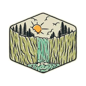 滝自然野生のグラフィックイラストアートtシャツデザイン