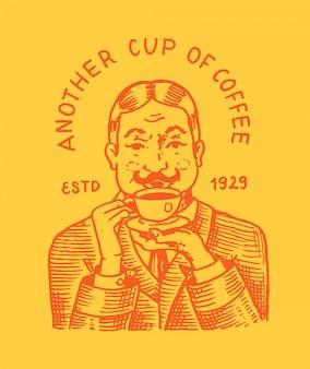 男はマグカップのコーヒーを保持しています。ショップのロゴとエンブレム。ヴィンテージレトロなバッジ。 tシャツ、タイポグラフィ、看板のテンプレート。手描きの刻まれたスケッチ。