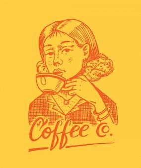 女性はマグカップのコーヒーを保持しています。ビクトリア朝の紳士。ショップのロゴとエンブレム。ヴィンテージレトロなバッジ。 tシャツ、タイポグラフィ、看板のテンプレート。手描きの刻まれたスケッチ。