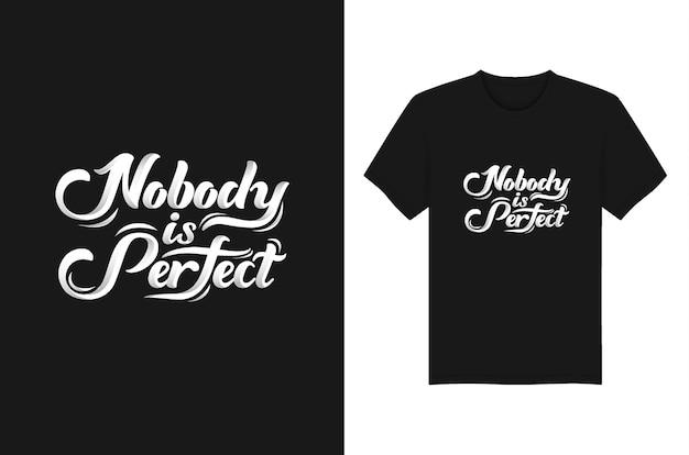 誰も完璧なスローガンと引用tシャツタイポグラフィデザイン