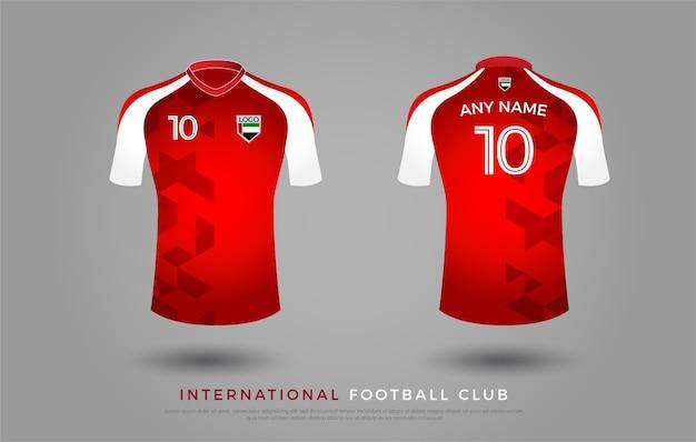 サッカーtシャツデザインの制服セット。サッカーユニフォームテンプレート。赤と白