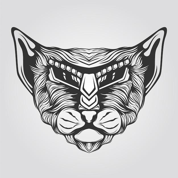 Tシャツのイラストのライン抽象猫