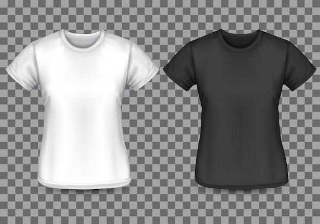 女性のtシャツ白黒い空白の前部