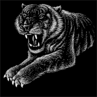 タトゥーやtシャツのデザインや生き抜くための虎。