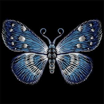 タトゥー、tシャツ、または生き抜くためのベクターロゴバタフライ。かわいい印刷スタイルの蝶の背景。この図は、黒い布またはキャンバス用です。