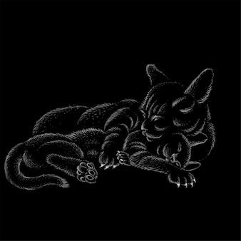 お母さんがタトゥーやtシャツのデザインや生き抜くために彼女の赤ちゃんを抱擁するので、ロゴ猫は子猫を抱擁します。かわいいプリントスタイルの猫の背景。