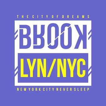 ブルックリン・ニューヨーク・タイポグラフィーtシャツデザイン