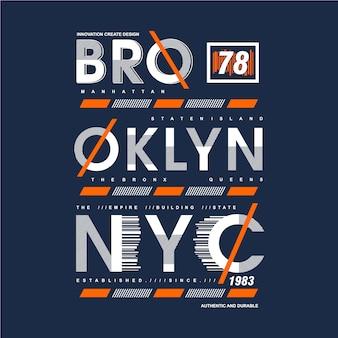 ブルックリンテキストフレームグラフィックタイポグラフィデザインtシャツ