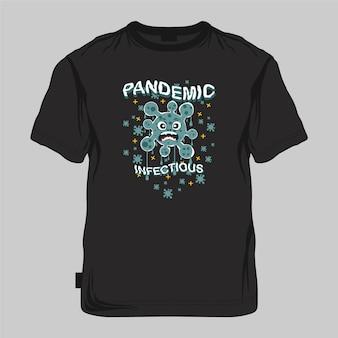 パンデミック感染性グラフィックのモックアップ、タイポグラフィベクトルイラストtシャツプリント