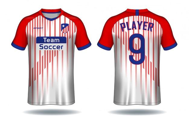 サッカージャージーテンプレート。スポーツtシャツデザイン。