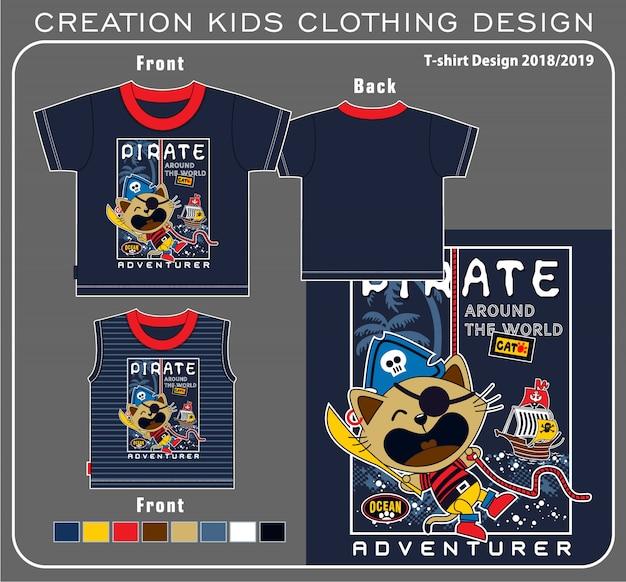 猫海賊tシャツグラフィック