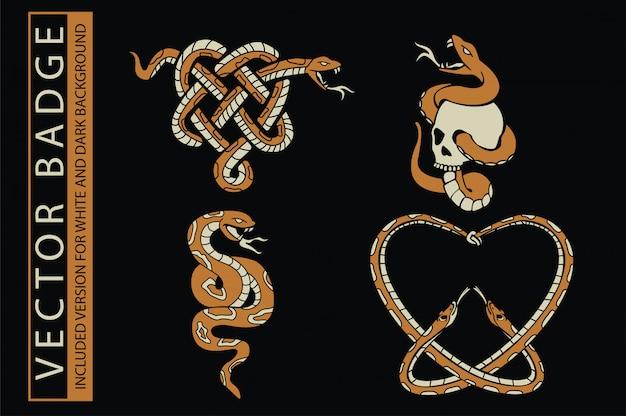 Tシャツとその他の用途の頭蓋骨と蛇のイラスト