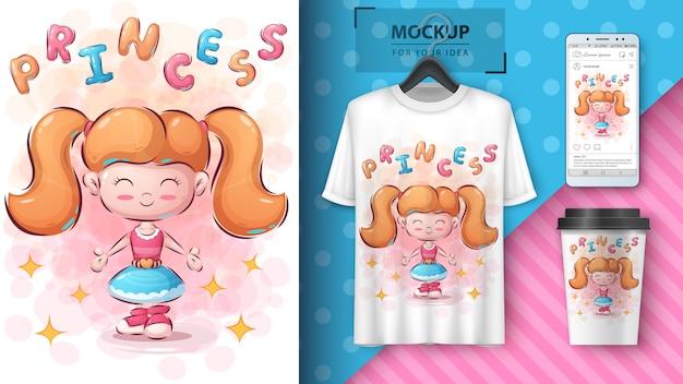 Tシャツとマーチャンダイジングのかわいい女の子イラスト