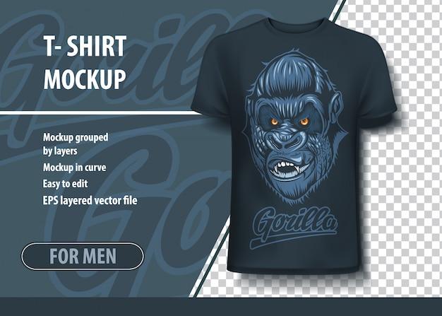 ゴリラの碑文と怖い頭を持つtシャツモックアップテンプレート。編集可能なレイアウト。