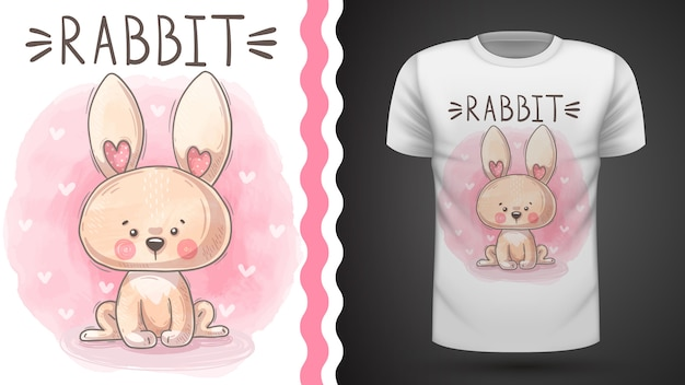 テディ水彩うさぎ-プリントtシャツのアイデア