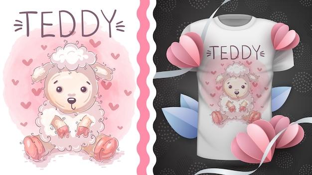 かわいいテディラム-プリントtシャツのアイデア。手描き