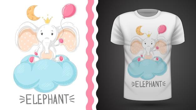 プリントtシャツのための気球のアイデアを持つ象