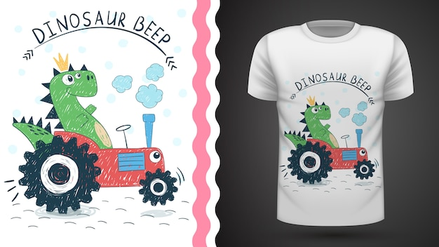 プリントtシャツのためのトラクターのアイデアを持つ恐竜
