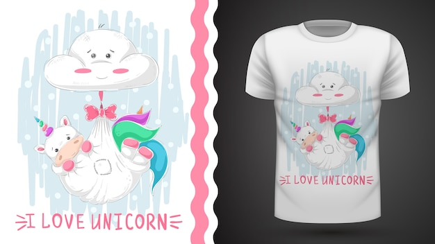 テディユニコーン睡眠 - プリントtシャツのためのアイデア