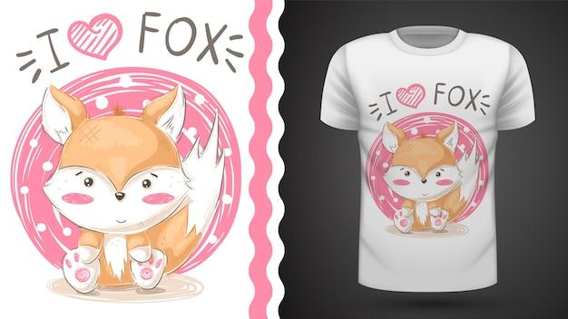 かわいいキツネ - プリントtシャツのためのアイデア