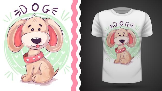 プリントtシャツのための面白いテディ犬