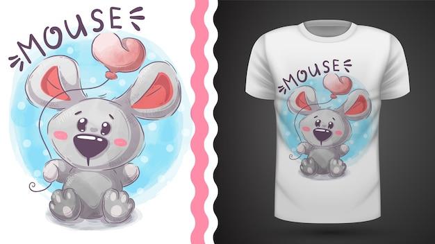 かわいいテディマウス - プリントtシャツのためのアイデア