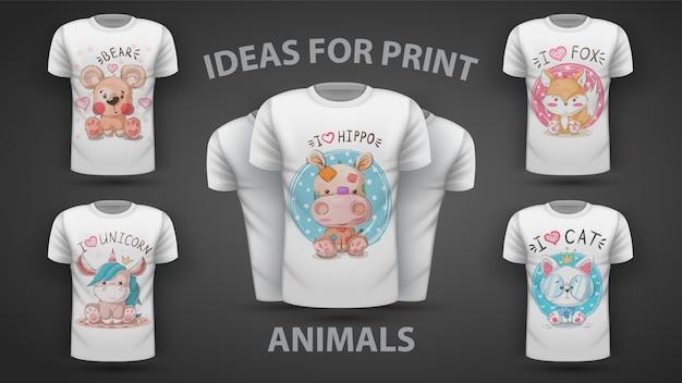 セットのテディアニマル-プリントtシャツのアイデア